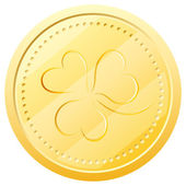 Vector gold coin with clover. Symbol of St. Patrick's Day — Stock Vector