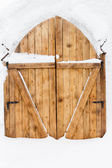 Wooden door in a snow palace — Stock Photo