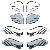 Set of cartoon wings — Stock Vector