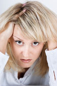 Tired disheveled distraught girl — Stock Photo
