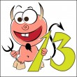 Stock Vector: Cheerful devil with number thirteen