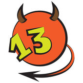 Devilish ball with number thirteen — Stock Vector