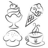 Set. Desserts and coffee. Vector illustration — Stock Vector