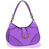 Vector. Women's purple handbag — Stock Vector