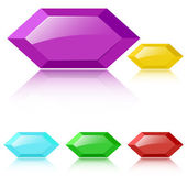 Vector glossy faceted gemstones — Stock Vector
