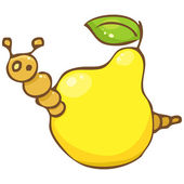 Vector. Funny worm in the pear — Stock Vector