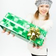 Charming smiling girl holding a gift box — Stock Photo #35219443