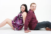 Young happy couple. Husband and pregnant wife — Stockfoto