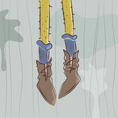 Vector illustration. Dangling feet — Vetorial Stock