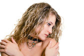 Portrait of a beautiful young girl with long blond wavy hair — Stock Photo
