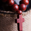 Wooden rosary with cross — Stock Photo #45666327