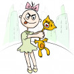 Vector illustration. Children's cruelty. girl torturing a cat. h — Stock Vector