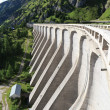 Dam in Fedaia lake — Stock Photo