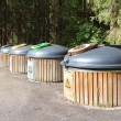 Wooden recycle bins — Stock Photo