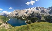 Dolomiti - Fedaia lake and Marmolada mount — Stock Photo