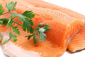 Trout fillet with parsley closeup — Stock Photo