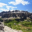 Royalty-Free Stock Photo: Passo Gardena and Sella mountain