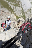 Climbing on Via Ferrata — Stock Photo