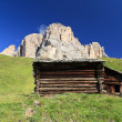 Stock Photo: Barn beneath Dolomites