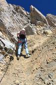 Dolomiti - hiker on via Ferrata — Stock Photo
