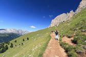 Dolomites - walking on a footpath — Stock Photo