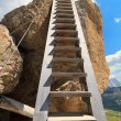 Wooden ladder on via ferrata — Stock Photo