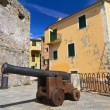 Small square with cannon — Stock Photo