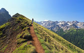 Hiking on mountain ridge — Stock Photo