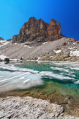 Dolomites - lake Pisciadu — Stock Photo