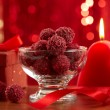 Raspberry chocolate truffles — Stock Photo