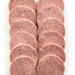 Stock Photo: Salami sausage slices