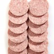 Salami sausage slices — Stock Photo