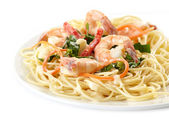 Plate of spaghetti with seafood — Stock Photo