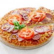 Salami and tomato pizza — Stock Photo