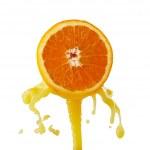 Orange juice splashing on a white background — Stock Photo #49774541