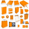 Orange 3d blank cover collection — Stock Photo #12498520