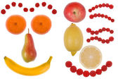 Funny face made from fruit — Stock Photo