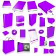 Violet 3d blank cover collection — Stock fotografie