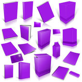 Violet 3d blank cover collection — Stock Photo
