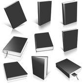 Nine black empty book template — Stock Photo