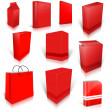 Stock Photo: Ten red blank boxes isolated on white