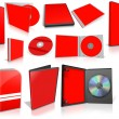 Red multimedia disks and boxes on white — Stock Photo