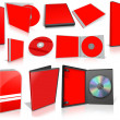 Red multimedia disks and boxes on white — ストック写真