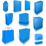diez azul cajas en blanco de luz aisladas en blanco — Foto de Stock
