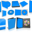 Blue multimedia disks and boxes on white — Foto de Stock