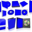 Blue multimedia disks and boxes on white — Stok fotoğraf