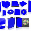 Blue multimedia disks and boxes on white — Stock Photo