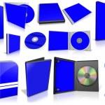 蓝色多媒体磁盘和上白框 — 图库照片