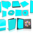 Cyan multimedia disks and boxes on white — Stock Photo