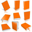 Nine orange empty book template — Stock Photo